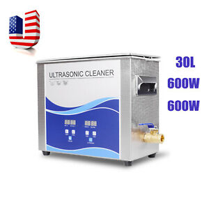 Fda 600w 30l Ultrasonic Cleaner Stainless Steel Industry Heated Heater W Timer