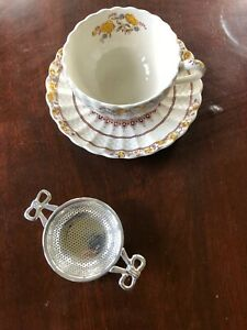 Tea Strainer Silver Plated W Drip Bowl Antique Reproduction Notting Hill