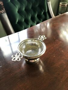 Tea Strainer Silver Plated W Drip Bowl Antique Reproduction Marylebone