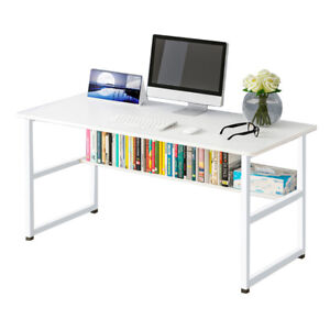 Wood Office Table Computer Desk With Bookshelf Work Table For Home Workstation