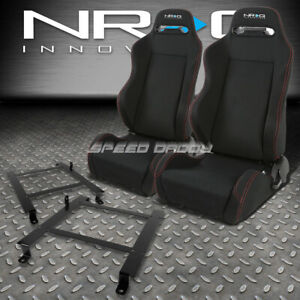 Nrg 2 Type R Red Stitches Racing Seats Low Mount Bracket For 97 04 Corvette C5
