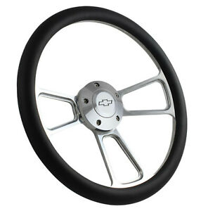 14quot; Billet Muscle Style Black Grip Steering Wheel with Chevy Bowtie Horn Button $129.99