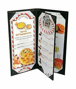 4 Pcs Of Restaurant Menu Covers Holders 4 75 X 11 Inches 3panel 4view sold