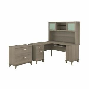 Bush Furniture Somerset L Shaped Desk With Hutch And Lateral File Cabinet 60