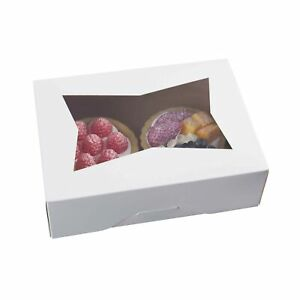 8inch White Cookie Boxes With Window auto popup Rectangular Bakery Box For Mu