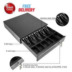 Cash Register Drawer Square 5 Bill 6 Coin Tray Under Counter Epson Pos Printer