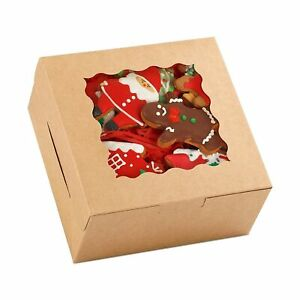 Moretoes 48pcs 6 Inch Brown Cookie Boxes 6x6x3 Inches With Window Kraft Paper