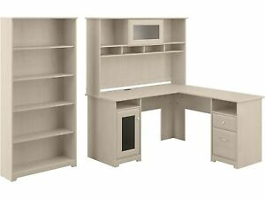 Bush Furniture Cabot 60 L shaped Desk With Hutch And 5 shelf Bookcase Linen We