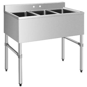 Costway 3 Compartment Stainless Steel Kitchen Commercial Sink Heavy Duty New