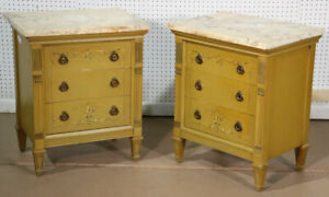 Pair Yellow Ochre Paint Decorated Marble Top French Louis Xvi Nightstands