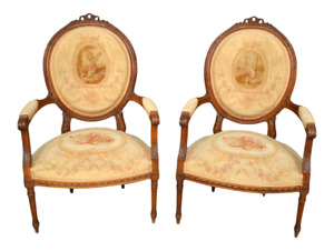 Pair Antique Needlepoint French Carved Wood Arm Chairs