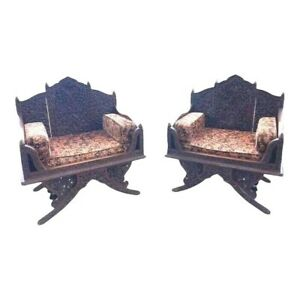 Pair Of Heavily Antique Carved Arm Chairs