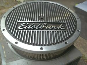 Vintage Hot Rod Muscle Car Edelbrock Finned 4bbl Air Cleaner Holley