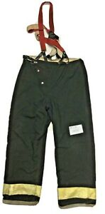 38x32 Globe Black Firefighter Turnout Pants With Suspenders P1270
