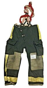 38x32 Globe Black Firefighter Turnout Pants With Yellow Tape Suspenders P1271