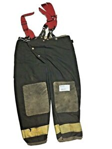40x28 Globe Black Firefighter Turnout Pants With Yellow Tape Suspenders P1273