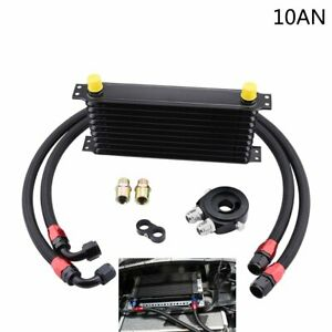 10 An 10 Row Engine Transmission Oil Cooler Kit Oil Filter Relocation Adapter