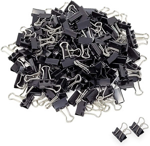 Seaside Supply Mini Small Binder Clips 144 Pack Black Coating Paper Clamps