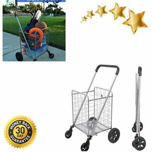 Grocery Shopping Cart With Heavy Duty Swivel Wheels Folds Flat With Wide Cushion