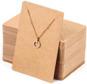 150 Pcs Blank Jewelry Display Cards Kraft Paper Necklace Earring Card 3 5 X 2 4