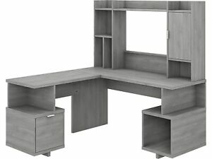 Kathy Ireland Home By Bush Furniture 60 L shaped Desk With Hutch Modern Gray