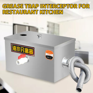 Stainless Steel Grease Trap Interceptor For Kitchen Wastewater 35 25 23cm