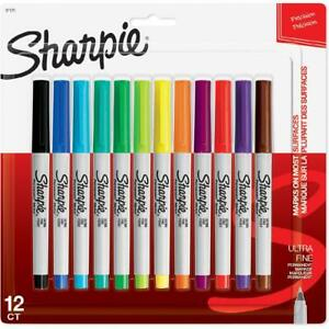 Sharpie Permanent Markers Ultra Fine Point Assorted Colors 12 Count