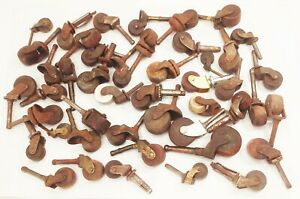 Lot Of 44 Vtg Antique Cast Iron Wood Wooden Swivel Casters Wheels Furniture