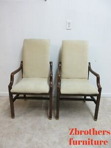Pair Vintage Henredon Scene One Campaign Dining Room Arm Chairs Mid Century