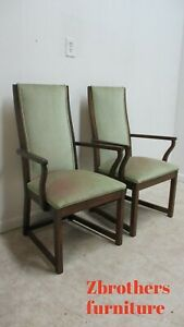 Pair Vintage Mid Century Lane Furniture Dining Room Arm Chairs Walnut Campaign