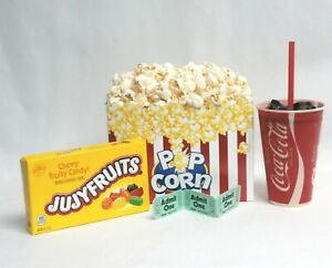Fake Food Movie Night Theater Props Snaks W Box Of Popcorn And Candy