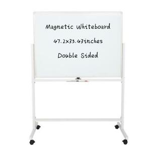 Mobile Whiteboard Double side Magnetic Dry Erase Board Stand 47 X 35 Office