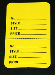 100 Yellow 2 75 x1 75 Large Perforated Unstrung Price Consignment Store Tags