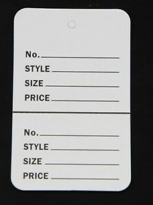 100 White Large 2 75 x1 75 Perforated Unstrung Price Consignment Store Tags