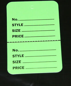 100 Green 2 75 x1 75 Large Perforated Unstrung Price Consignment Store Tags