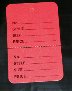 300 Red 2 75 x1 75 Large Perforated Unstrung Price Consignment Store Tags