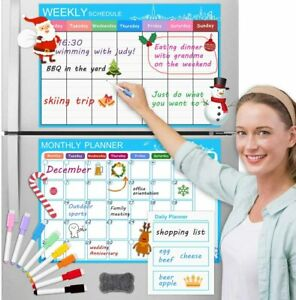 Set Of 3 Refrigerator Magnetic Dry Erase Calendars Monthly weekly daily W Pens