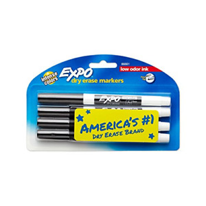 Expo 86661 Low odor Dry Erase Markers Fine Point Black 4 count