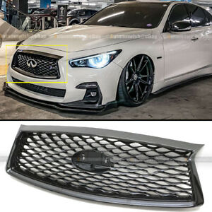 Fit 18 21 Infiniti Q50 Glossy Black Jdm Front Bumper Upper Replacement Grille