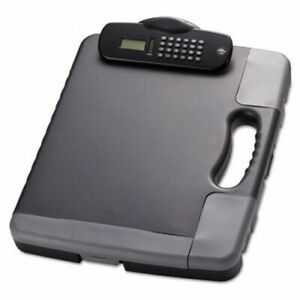 Officemate Portable Storage Clipboard Case W calculator Charcoal oic83302