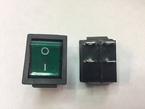 Dpst double Pole Single Throw 4 pin on off 20amp Green Led Rocker Switch