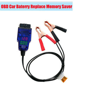 Digital Display Car Obd Battery Replacement Memory Saver Cable Tool With Clamps