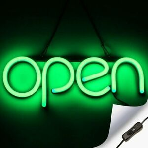 Led Neon Open Sign Light For Business With On Off Switch Green
