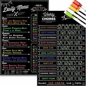 Magnetic Dry Erase Chore Chart And Menu Board Set For Kitchen Fridge 11 X