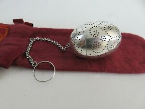 Heavy Gorham Aesthetic Sterling Silver Egg Form Tea Ball Infuser Pouch C1890s