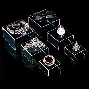 Chuangdi 2 Sets Clear Acrylic Display Risers Jewelry Display Riser Shelf Small