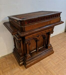 Antique 1800 S Victorian Church Pulpit Podium Stand Carved Wood 45 L 25 W 43 H