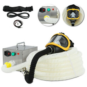Electric Fresh Air Respirator System Long Tube Flow Supplied Full Face Gas Mask