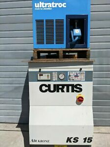 Rotary Screw Air Compressor 15hp 460v 54cfm 125psi Only 283 Hours With Drier