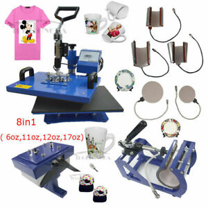 Used 8in1 Sublimation Heat Press Transfer Machine Mug Plate Cap Hat T shirts